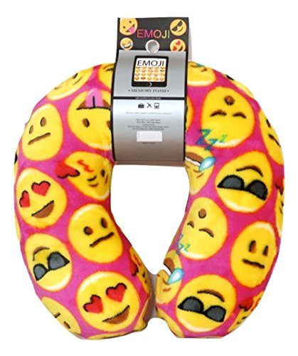Emoji Expressions Velvet Memory Foam Travel Pillow Neck Support Head Rest Cushion Emoji Emoticon Memory Foam Travel Pillow and Emoji Soft Cover Journal Kids Plush Soft Toy Toddlers Teens Emojies (Easy Homemade Womens Halloween Costume Ideas)