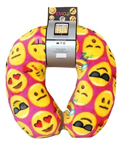 Emoji Expressions Velvet Memory Foam Travel Pillow Neck Support Head Rest Cushion Emoji Emoticon Memory Foam Travel Pillow and Emoji Soft Cover Journal Kids Plush Soft Toy Toddlers Teens (Cute Homemade Owl Costume)