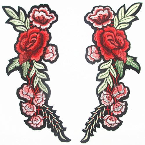 Dandan DIY 2pcs/1pair Big Rose Flowers Girl Embroidered Patch Sew On/Iron On Patch Applique Clothes Dress Curtain Sewing/Iron Love Flower Applique Wedding Home Party Diy Accessory (Flower-11)