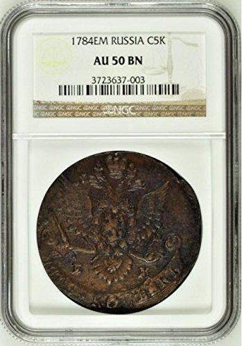 1784 RU Russia Empire 1784 EM Cooper 5 Kopeks Catherine t 5 Kopeks AU 50 NGC