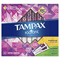 Tampax Radiant Tampons with Plastic Applicator, Regular/Super Absorbency DuoPack, Unscented, 32 Count (Packaging May Vary)