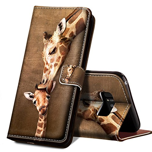 ONSPACE Wallet Case For Samsung Galaxy Note 8, Magnetic Protective Cover Case Card Slots and Wrist Strap, Custom Printed Giraffes Love Kiss Wallet Case, PU leather Stand Feature Galaxy Note 8 Case - Giraffe Note