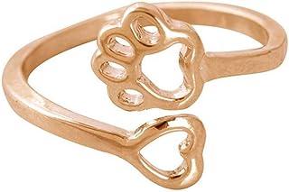 Cane Elegante Zampa Foot Prints Amore a Forma di Cuore in Lega Aperto Donne Geometrico Anello della Mano per i Regali Gonee