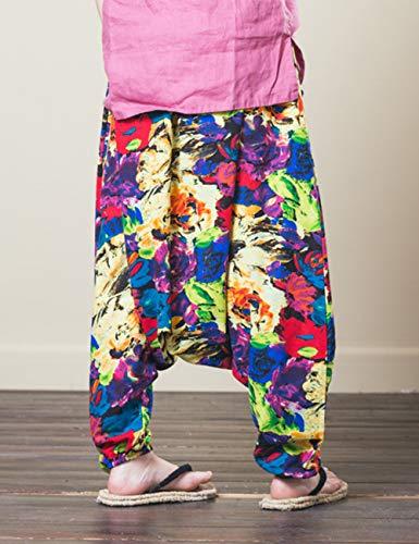 Casuale Hippie Floreale Biancheria Boho Gamba Cotone All'aperto Larga Pantaloni Yoga Besbomig Harem Lungo wx0S5ZS