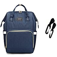 Diaper Bag Backpack Breast Pump Backpack Nappy Travel Bag Organizer with Stroller Straps For Mom Or Dad,Waterproof,Multi-Function and Large Capacity (navy blue)