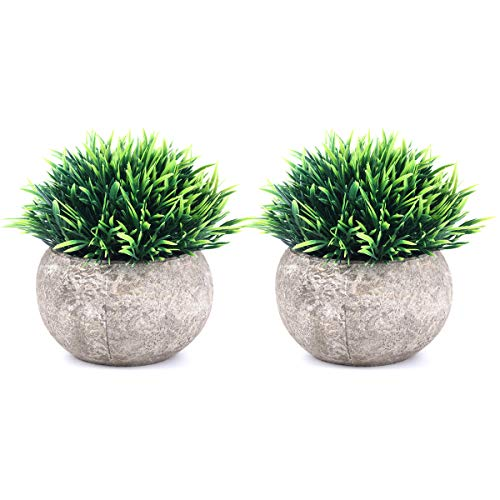 The Bloom Times 2 Pcs Fake Plants for Bathroom/Home Office Decor, Small Artificial Faux Greenery for House Decorations (Potted Plants) (Decor Table Home)