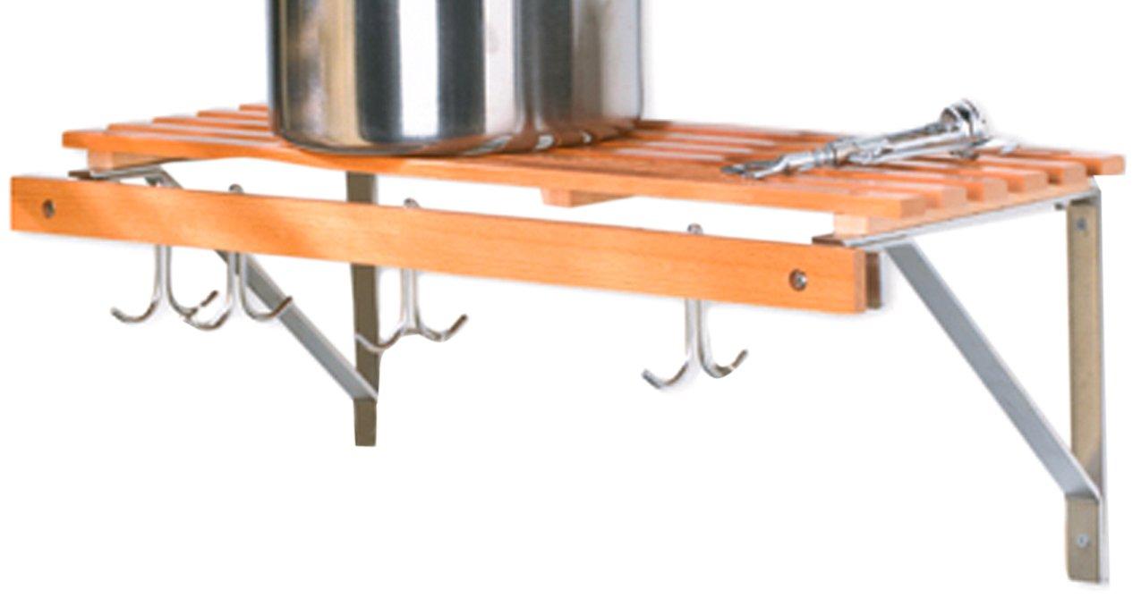 InPlace Shelving 0199135 35-Inch Wide Lacquered Birch Kitchen Organizer Rack, Natural Birch