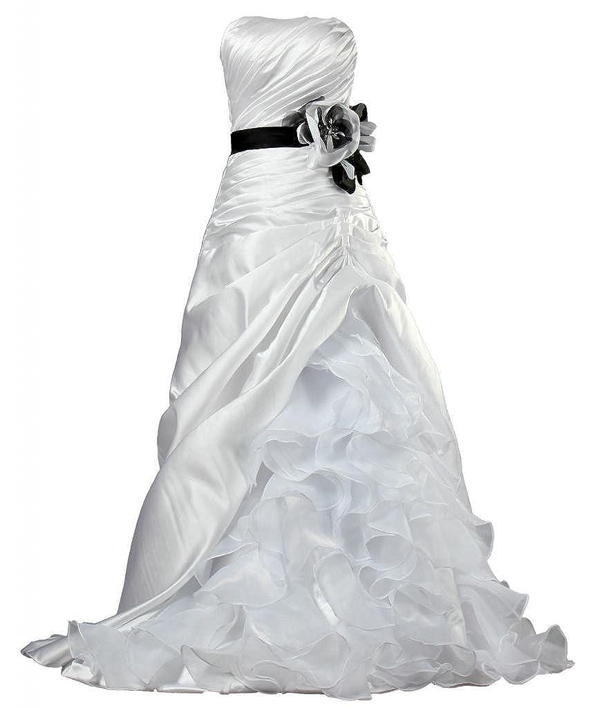 026b94a0c55 ANTS Women s Strapless Satin Organza Ruffle Wedding Dresses Bride K085-MFN