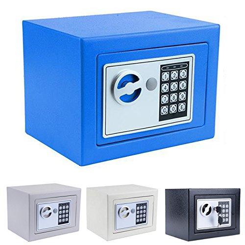 flyerstoyホームセーフセキュリティボックスインドアデジタルロックVault for deposit、現金、貴重品、お金、deposit、チェック、ジュエリー(米国Stock ) ブルー B07BBNY95J  ブルー