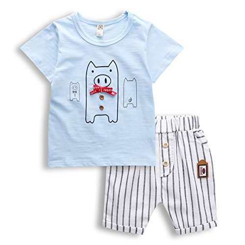 Kids 2 PCS Short Sleeve T-shirt and Shorts, Little Boy Short Set for 1-6 Years,Blue,6