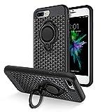 iPhone 8 plus Case, iPhone 7 plus Case, Vafru 360 Degree Rotating Ring Grip kickstand Dual Layer Shock-Absorption Anti-Scratch for iPhone 7plus, iphone 8 plus--(Black)(B)
