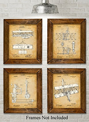 Original Wright Brothers Patent Art Prints - Set of Four Photos (8x10) Unframed - Great Gift for Pilots (4 Picture Airplanes)