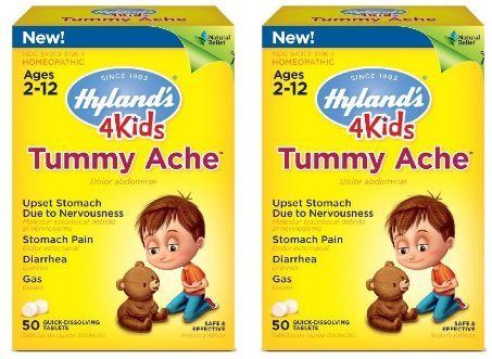 Hyland's 4 Kids Tummy Ache Tablets, Natural Relief of Upset Stomach, Diarrhea and Gas for Kids, 50 Count (2 Pack)