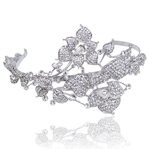 EVER FAITH Austrian Crystal Wedding Butterfly Hibiscus Flower Leaf Vine Headband Clear Silver-Tone (Headband Butterfly Crystal)