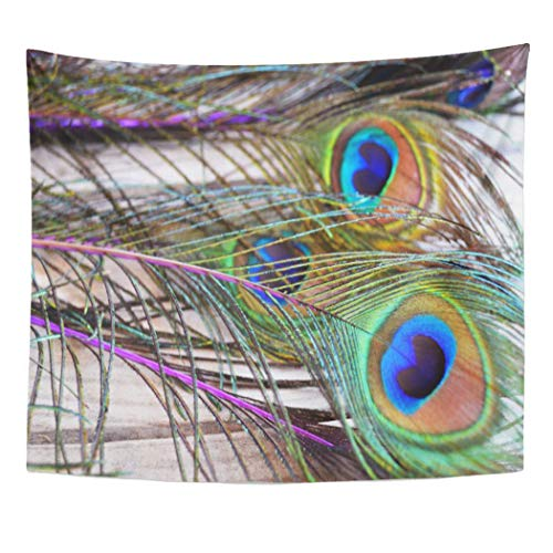 Semtomn Tapestry Artwork Wall Hanging Shabby Jewel Tone Peacock Feathers Chic Rustic Vintage Unique 50x60 Inches Home Decor Tapestries Mattress Tablecloth Curtain Print