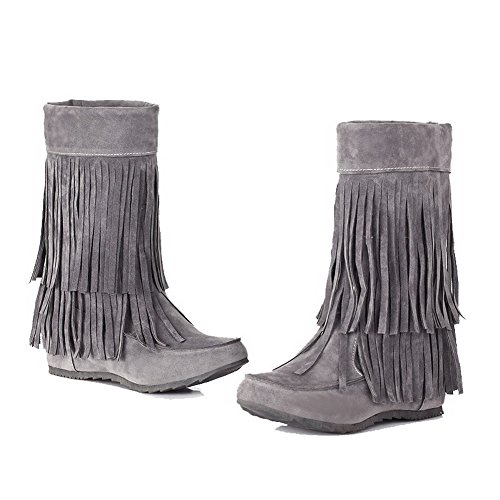 Pull Suede On Kitten Women's Toe Top Mid Gray WeenFashion Closed Heels Boots Imitated Round 5qEBwEzx6