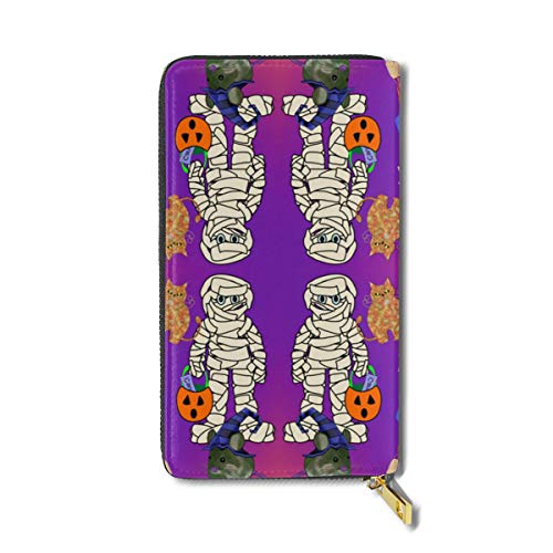 NDJHSA Halloween Gang Fabric RFID Leather Credit Card Holder Case Clutch Bag Wallet Large Purses