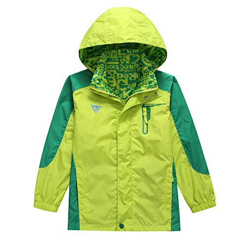 (KID1234 Boys' Lightweight Rain Jacket Quick Dry Waterproof Hooded)