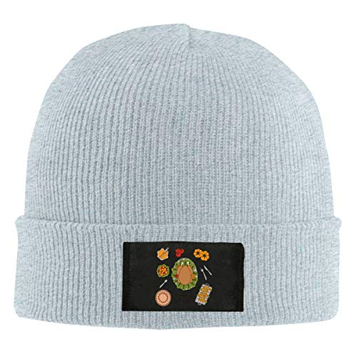 Unisex Elastic Knitted Beanie Cap Thanksgiving Day Dinner Food Winter Outdoor Warm Skull Hats