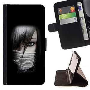 For Samsung Galaxy S4 Mini i9190 (NOT S4) Case , Chica Sexy Ninja- la tarjeta de Crédito Slots PU Funda de cuero Monedero caso cubierta de piel