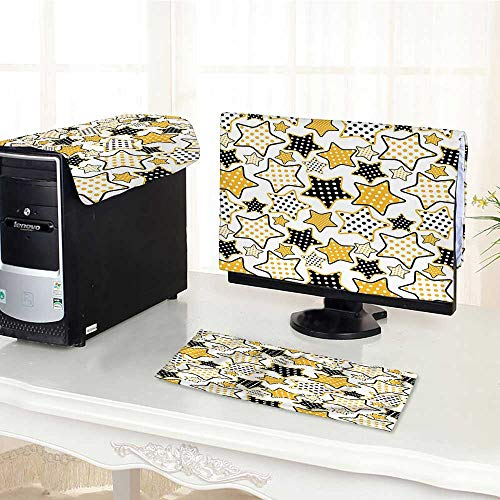 Jiahonghome Keyboard dust Cover Computer 3 Pieces Polkadots inSmall Stars s Style Partyation Rockn Roll Theme Print Yellow Black Computer dust Cover /20
