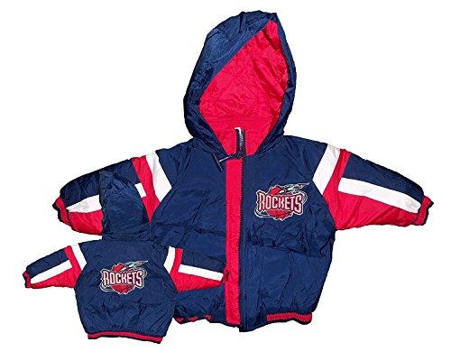 Houston Rockets Team Logo Blue & Red Embroidered Baby Stripe Hood Bomber Jacket (18 Months)