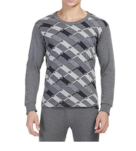 Wholesale ainr Mens Stylish Jacquard Print Pajama Warm Winter Thermal Underwear Set for cheap