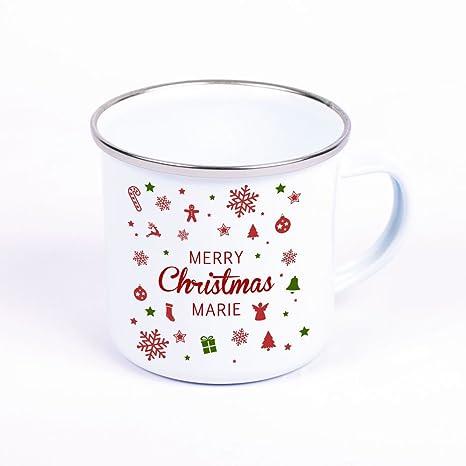 Weihnachtsgeschenke Für Mann Und Frau.Metalltasse Emaille Look Merry Christmas Personalisiert