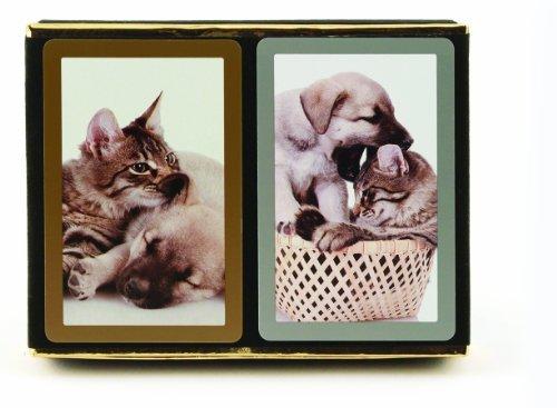 Bundle – 3 items: 1 Congress Playing Cards Cat & Dog Bridge (2 Decks), with 2 Packs (12 Each Pack) Tallies, Standard Index