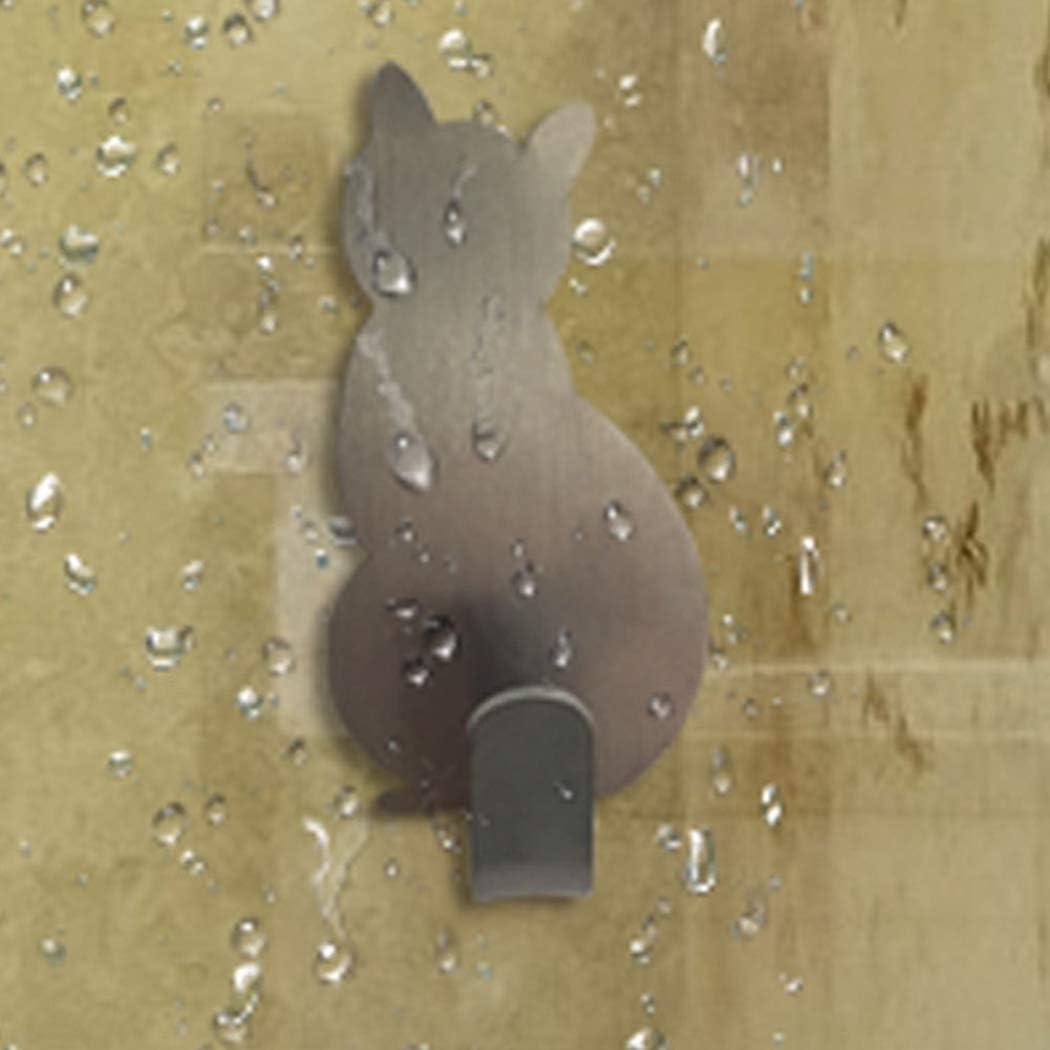 JUSTDOLIFE 6 ST/ÜCKE Wandhaken Edelstahl Katze Selbstklebende Wandhalterung f/ür Kleidung Hut