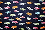 Vintage Car Printed Navy Colour 100% Cotton Fabric **FREE UK POST** Kids Children Nursery Early Learning Fun Craft Vintage Cars Boys Fabric Zoom Bunting Bed Sheet Cover Quilting Material Patchwork (1/2 Meter (50cm x 114cm))
