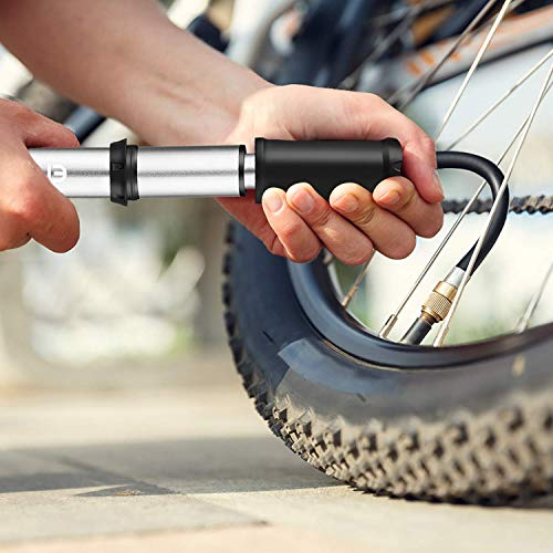 ENKEEO Mini Bike Pump, Portable Pocket Tire Pump Fits Presta & Schrader Valve, for Cycles and Balls, High Pressure 140 Psi, Mount Kit Included
