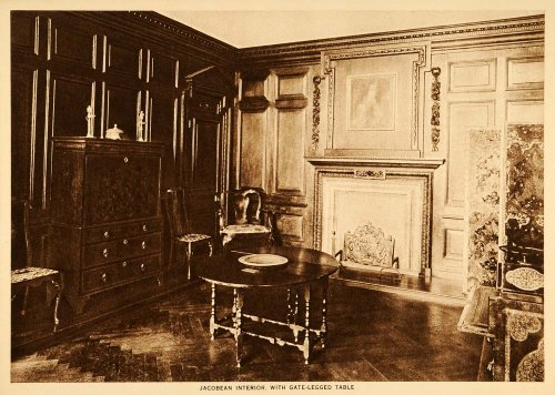 1914 Intaglio Print Antique Furniture Jacobean Room Interior Gate-legged Table - Original Intaglio Print