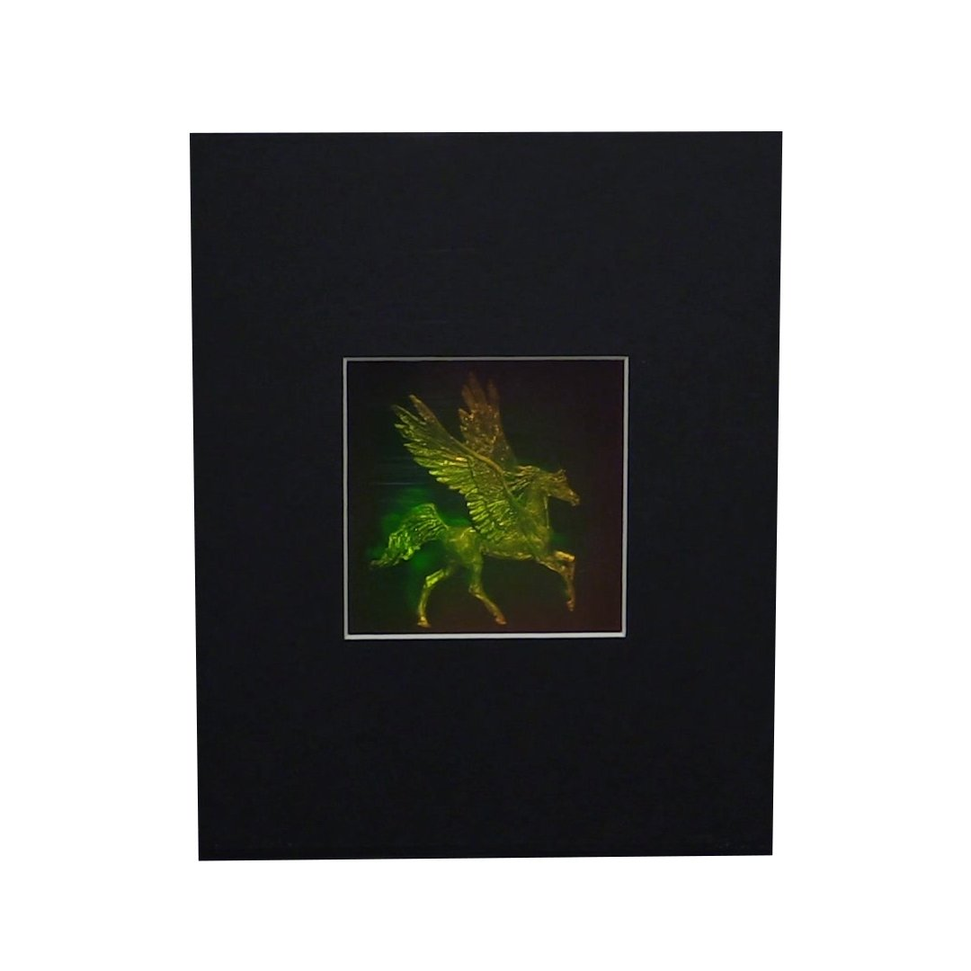 3D Pegasus 4'' Square with Plain Background Hologram Picture (MATTED), Collectible Photopolymer Type Film