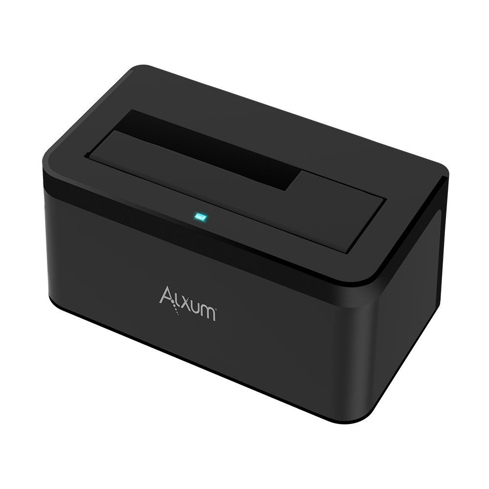 Alxum USB 3.0 To SATA External Hard Drive Docking Station For 2.5/3.5 Inch SATA I/II/III HDD SSD, Support 6TB/8TB, with 12V/2A Power Supply - Black