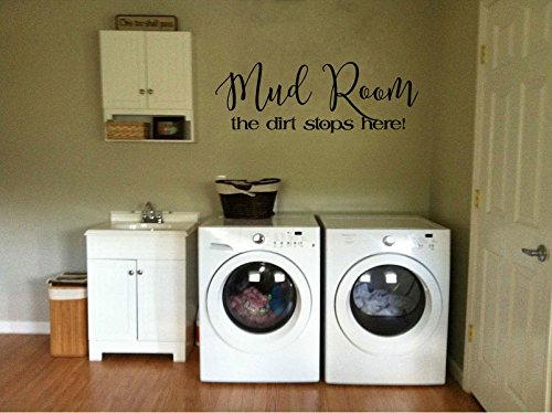 Mud Room The Dirt Stops Here Vinyl Wall Words Decal Sticker Graphic (Dirt Graphic)
