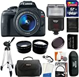 Canon EOS Rebel SL1 Digital SLR Camera with EF-S 18-55mm f/3.5-5.6 IS STM Lens + 64GB Card and Reader + Flash + Extra Battery + Case + Filter + Wide-Angle + Telephoto Lens + Tripod + Accessory Kit