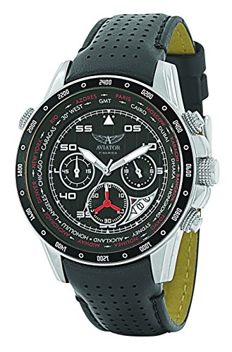 AVIATOR Watch Men's Military Quartz Pilot Chronograph Black Leather Strap Wristwatch F-Series - Watch Aviator Mens