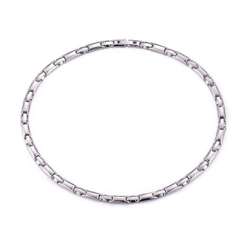 Tungsten Titanium Elegant Magnetic Therapy Necklace Germanium for Promote Blood Circulation (Sliver)