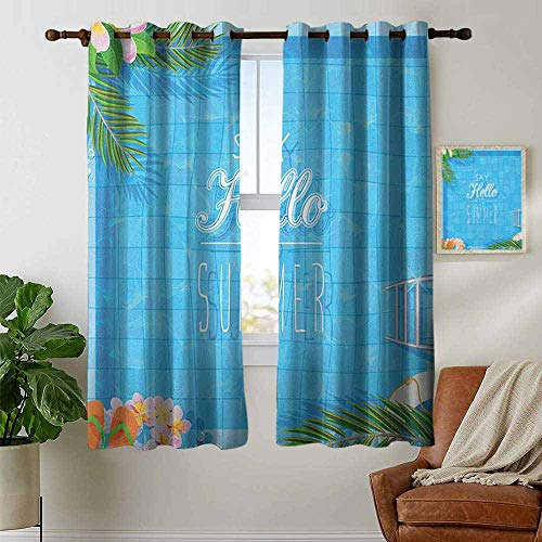 Kitchen Curtains Quote,Say Hello to The Summer Slogan on a Pool with Ladder Flip Flops and Flowers Design, Multicolor,Rod Pocket Drapes Thermal Insulated Panels Home décor 42