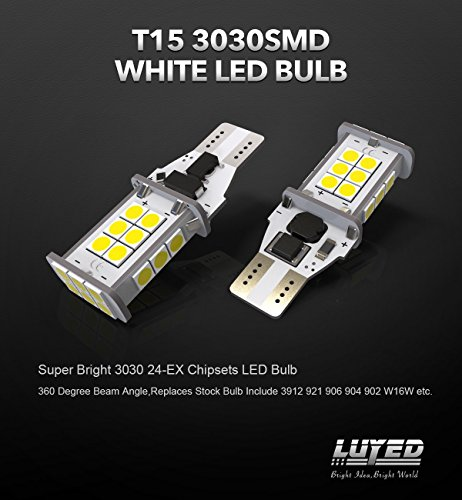 LUYED 2 X 1550 Lumens Extremely Bright Error Free 921 912 W16W 3030 24-EX Chipsets LED Bulbs Used For Backup Reverse Lights, Xenon White(Brightest backup light on the market) by LUYED (Image #1)