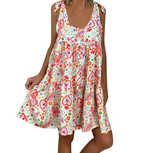 Mikilon Womens Casual Floral Printed Low Neck Backless Tie Shoulder Ruffle Summer Loose Beach Mini Dress Red ()