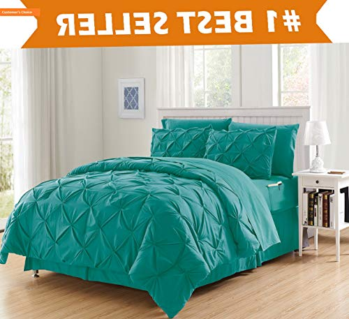 Mikash Luxury Best, Softest, Coziest 8-Piece Bed-in-a-Bag Comforter Set on ! - Silky Soft Complete Set Includes Bed Sheet Set with Double Sided Storage Pockets, Full/Queen, Turquoise | Style 84599047 (Comforter Set Grayson)