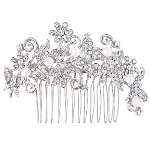 (EVER FAITH Silver-Tone Crystal Cream Simulated Pearl Elegant Floral Vine Butterfly Hair Comb Clear)