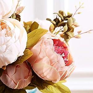 Pack of 2 Artificial Flowers Vintage Fake Silk Peony Flowers Wedding Bush Bouquet Arrangement for Home Decor Party Floral Wreath Centerpieces Decoration and DIY (Light Pink) 2