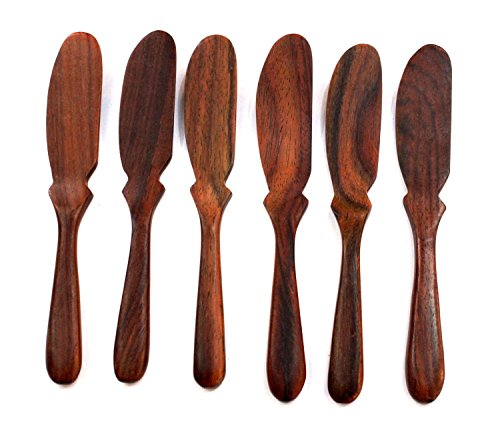 [Natural Rose Wood Wooden Jam Cheese Bread Butter Knife Spread Spreader, 6 Pcs.] (Halloween Cut Out Patterns For Pumpkins)