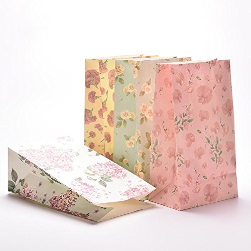 (Favour Wedding - 3pcs Lot Flower Print Kraft Paper Small Gift Bags Sandwich Bread Food Party Wedding Favour Free - Favors Cookies Wedding Gift Cake Bands Shower Boxes Sign Bags Favor Rings Fa)