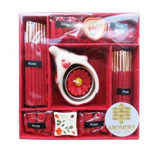 aliceinter rosa aromático Spa aroma relax fresco Tratamiento de incienso Cono vela Set de regalo de Tailandia