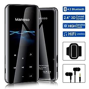 Mansso Lecteur MP3, MP3 avec Bluetooth 4.2/ Écran incurvé de 2,4 Pouces/Radio FM/enregistreur Vocal/Lecture vidéo…