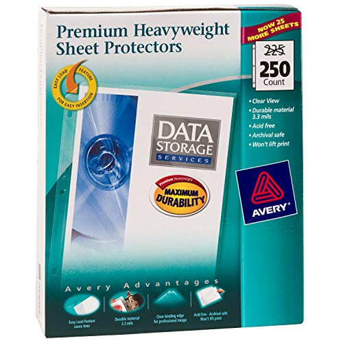 "Avery Premium Heavyweight Diamond Clear Sheet Protectors, 8.5"" x 11"", Acid-Free, Easy Load, 250ct (76006)"